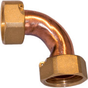 double bend nut f-f copper tap connector with seal and flange for gasket